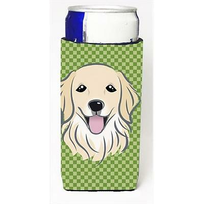 Green Checkered Golden Retriever Michelob Ultra bottle sleeves for slim cans