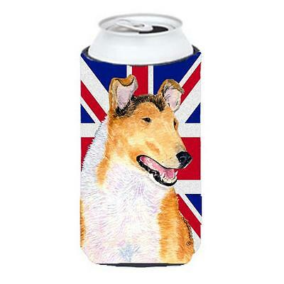 Collie Smooth With English Union Jack British Flag Tall Boy bottle sleeve Hug...