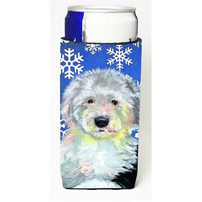 Old English Sheepdog Winter Snowflakes Holiday Michelob Ultra bottle sleeves ...