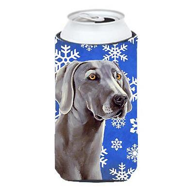 Weimaraner Winter Snowflakes Holiday Tall Boy bottle sleeve Hugger 22 To 24 oz.