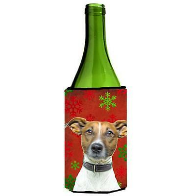 Red Snowflakes Holiday Christmas Jack Russell Terrier Wine bottle sleeve Hugger