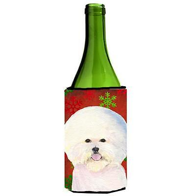 Bichon Frise Red And Green Snowflakes Holiday Christmas Wine bottle sleeve 24...