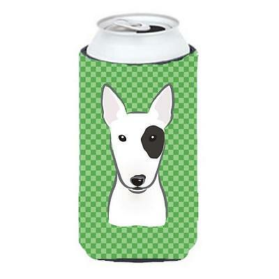Carolines Treasures Green Checkered Bull Terrier Tall Boy bottle sleeve Hugger