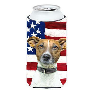 USA American Flag with Jack Russell Terrier Tall Boy bottle sleeve Hugger