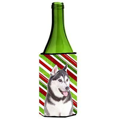 Candy Cane Holiday Christmas Alaskan Malamute Wine bottle sleeve Hugger