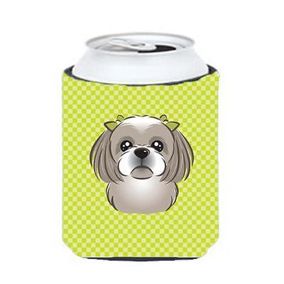 Checkerboard Lime Green Gray Silver Shih Tzu Can Or Bottle Hugger, 12 Oz.