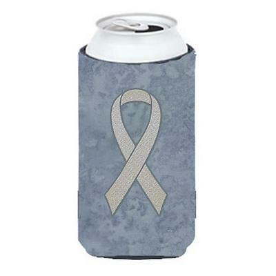 Clear Ribbon for Lung Cancer Awareness Tall Boy bottle sleeve Hugger 22 To 24...