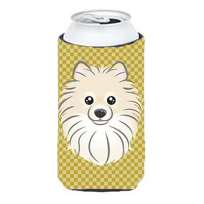 Carolines Treasures Tan Checkered Pomeranian Tall Boy bottle sleeve Hugger