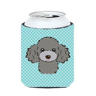 Checkerboard Blue Silver Gray Poodle Can Or Bottle Hugger, 12 Oz.