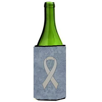 Clear Ribbon for Lung Cancer Awareness Wine bottle sleeve Hugger 24 Oz.