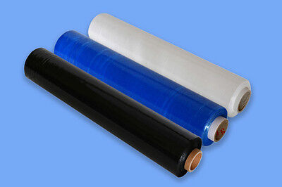 """1 2 3 6 12 18 24  x STRONG BLACK BLUE CLEAR PALLET STRETCH WRAP 400mm 16"""" uk"""