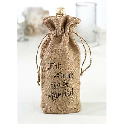 Lillian Rose WB560 E Eat, Drink and Be Married Burlap Wine Bag