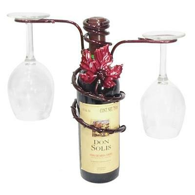 Grapevine Style Iron 2 Stem Holder Wine Bottle Topper, Merlot Finish