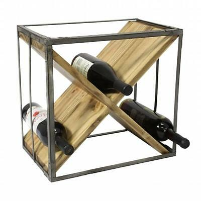Urban Designs Square Natural Wood And Metal X-Shape Wine Rack