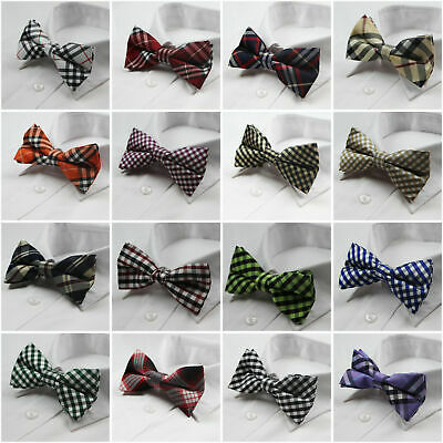 Mens High Quality Cotton Bow Tie Wedding Pre-Tied Black Blue White Ties Bowtie