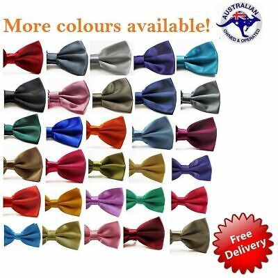 Plain Mens Bow Tie Pre-Tied Men's Solid Bowtie Wedding Black Blue Formal Ties