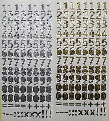 15MM Numbers PEEL OFF STICKERS Gold or Silver  Number = + x - ! . signs