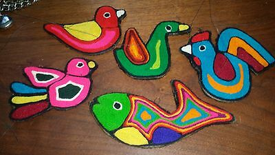 Vintage Hanging Birds & Fish Retro Crewel Embroidery Set 1960's 1970's