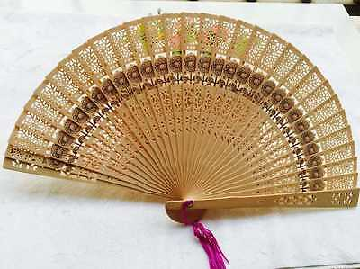 Chinese Bamboo Folding Hand Fan Wedding Party Flower Pattern Vintage Gift Wood