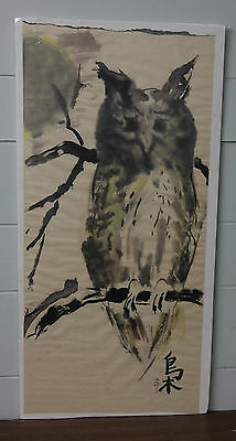 "Antique Chinese Watercolor Painting ""Owl"" Signed"