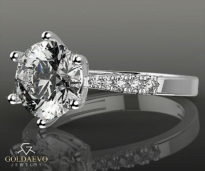 2.14 CTW ROUND CUT ENGAGEMENT RING VS1/D 14k WHITE REAL GOLD HER