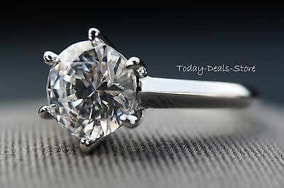 2.00 CT Round Cut D/VVS1 Solitaire Engagement Ring 14k Real White Gold