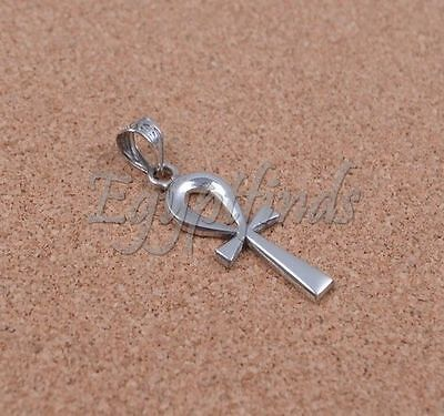 Egyptian Hand Made Solid Silver Hallmarked Ankh Life Key Cross Pendant Charm