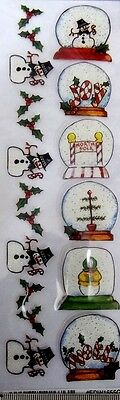 Royal & Langnickel Glitter Christmas Rub-ons ~SNOW GLOBES ~ Scrapbooking/Cards
