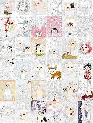 Colorful Jetoy Postcards Coloring Book Adult Anti Stress Art Therapy Cat Gift
