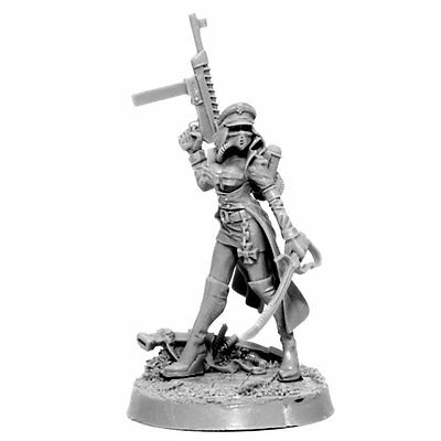 28mm-scale IMPERIAL SOLDIER FEMALE COMMISSAR WITH LASER PISTOL
