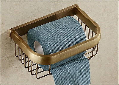 Antique Brass Toilet Paper Holder Tissue Basket Wall Mounted Bath Shelf Storage