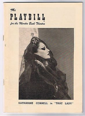 That Lady Katharine Cornell Playbill The Martin Beck Theatre 1949