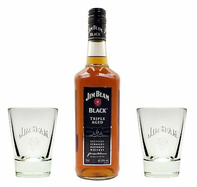 Jim Beam Black Label Whiskey 43% 0,7l + 2 orginal Tumbler Gläser - Geschenkidee