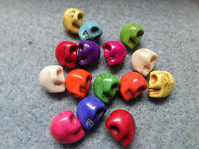 15 x Turquoise Beads - Skulls - 10mm - Mixed Colour