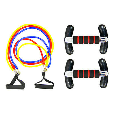 Pair Foam Handle Push-Up Press Up Bar / Rubber Resistance Band 3 Tube Cord