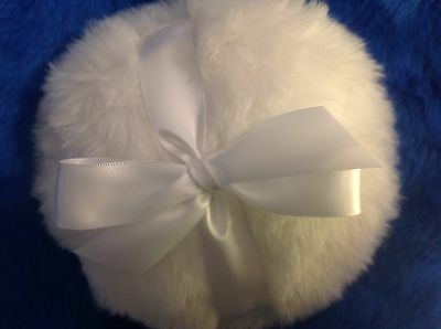 Luxuriously Plush powder puff with white ribbon handle and bow, 6 inches