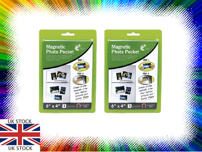 """6 X Magnetic Photo Picture Photograph Holders Pockets 6"""" X 4"""" Fast Free Post"""