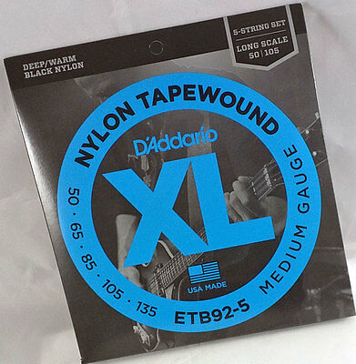 D'Addario Black Nylon Tapewound Electric Bass 5 Strings Set Long Scale ETB92-5