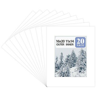 Pack of 20 16x20 WHITE Picture Mats with White Core for 11x14 Pictures