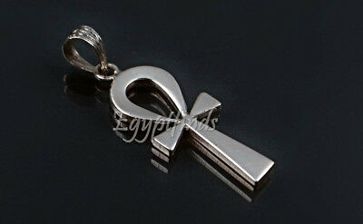 Large Egyptian Solid Sterling Silver Life Key Ankh Charm