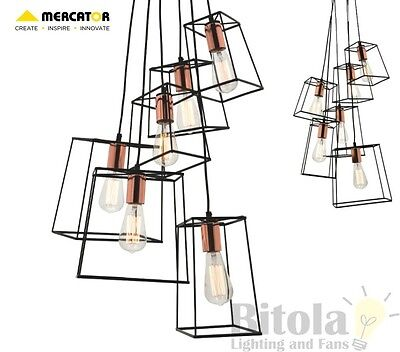New Mercator Zappa 6 Light Cluster Ceiling Pendant Black Metal With Copper