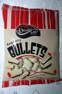 Darrell Lea White Chocolate Raspberry Bullets 200g bag