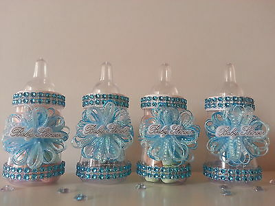 12 Blue Fillable Bottles for Baby Shower Favors Prizes or Games Boy Decorations