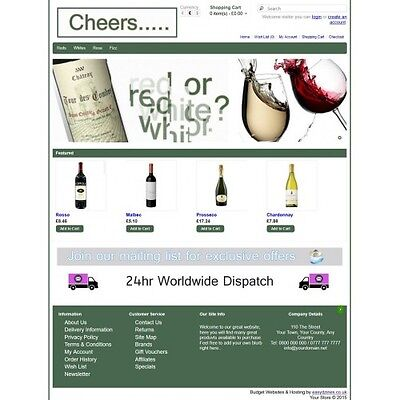 Green Wine Ecommerce Website Business, Shopping Cart / Online Store