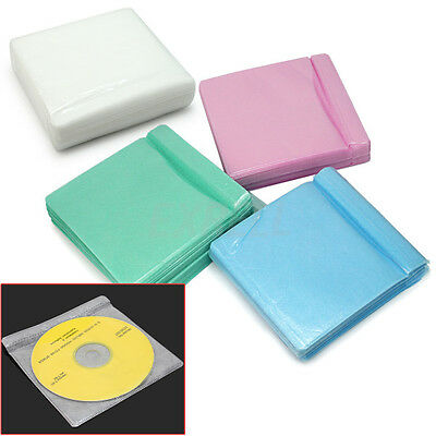100pcs Durable CD DVD DISC Storage Case Bag Cover Plastic Sleeve Holder Pack New