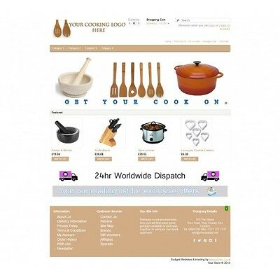 Cooking Ecommerce Website Business, Shopping Cart / Online Store 12 Month Hostin