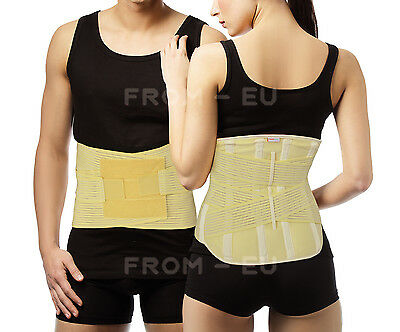 Extra Firm Back Lumbar Support Brace REMOVABLE Steel Stays Elastic Side Pulls