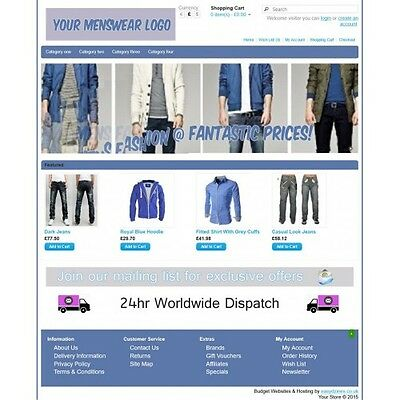 Menswear Ecommerce Website Business, Shopping Cart / Online Store 12 months host