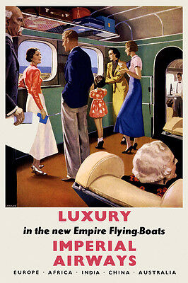 Vintage Art Deco 1930s Poster Flying Boat Imperial Airways Luxury Aviation Retro