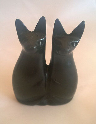 Pair of Soapstone Sitting Cats 7cms